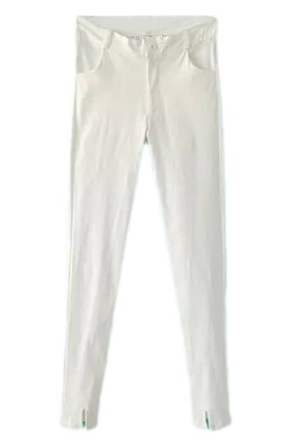 ROMWE Elastic Cut-out Slim White Pencil Pants