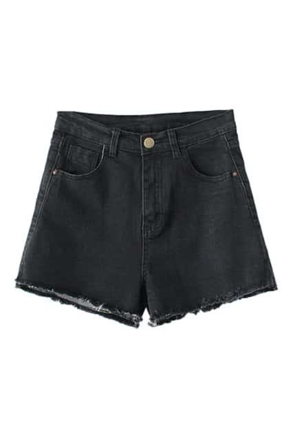 Ripped-hems Sheer Black Denim Shorts