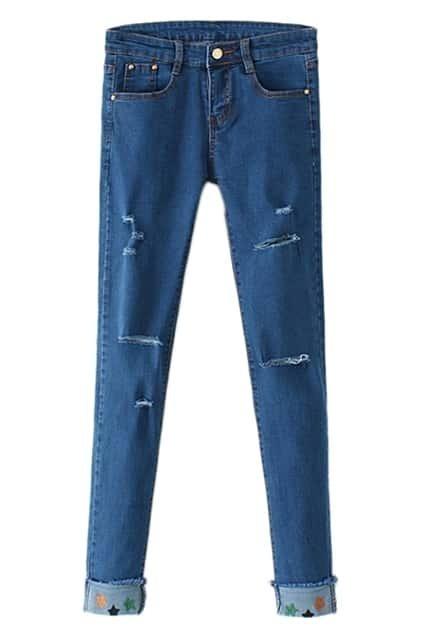 Distressed Floral Hems Slim Jeans