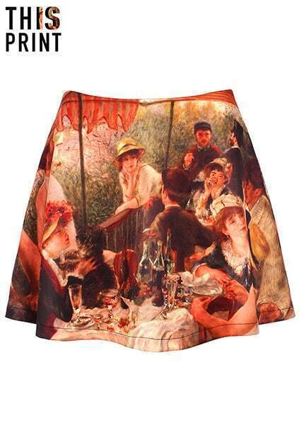 This Is Print Famous Painting Print Skirt