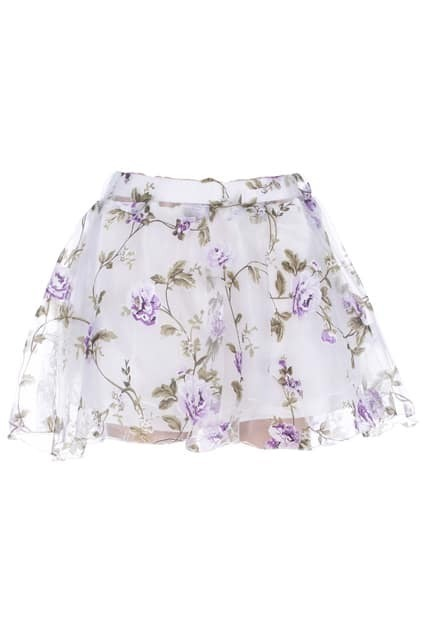 ROMWE Purple Floral Print White Skater Skirt