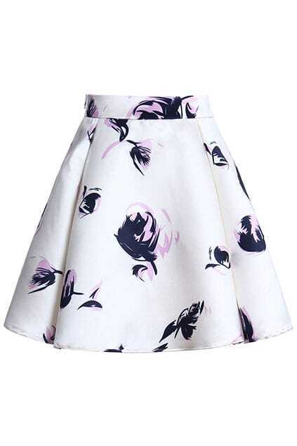 ROMWE Floral Print Lined White Puff Skirt