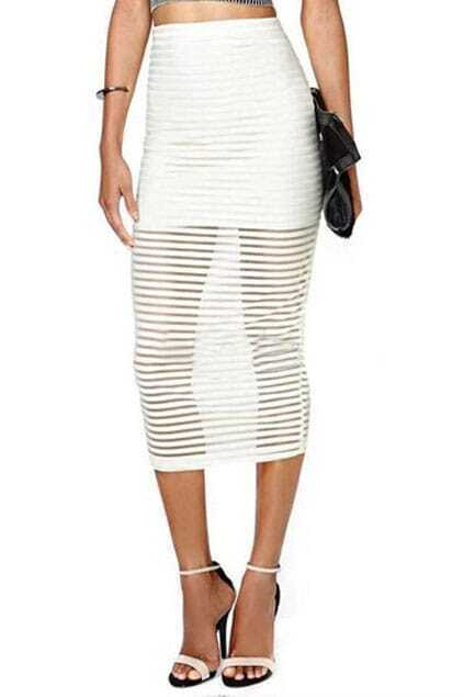 ROMWE Transparent Striped Lined White Skirt