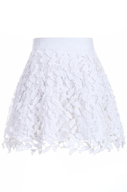 Romwe Lace Hollow-out High-waist Sheer White Skirt