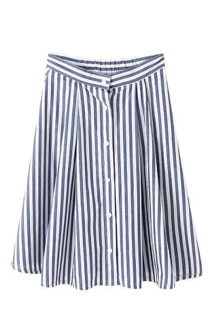 ROMWE Striped Buttoned Pocketed Blue A-line Skirt