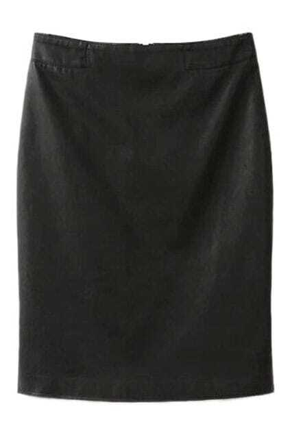 ROMWE Fish Tail Zippered Black PU Skirt