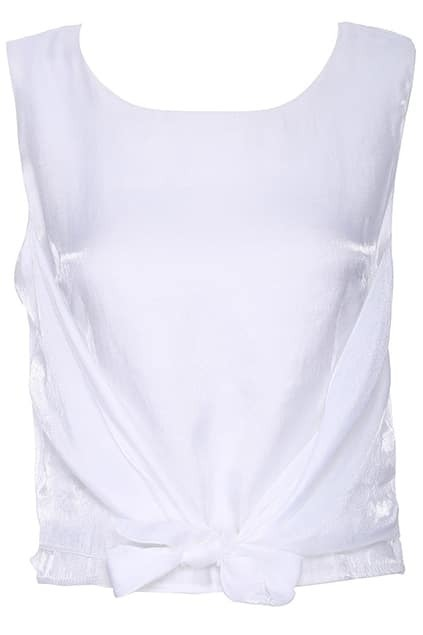 ROMWE Self-tied Zippered Crop White Vest