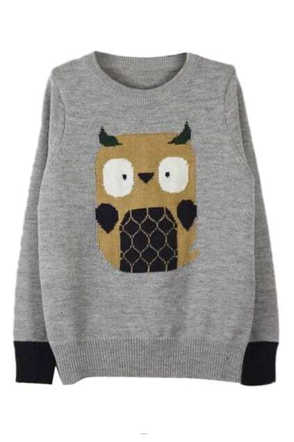ROMWE Owl Knitted Grey Jumper