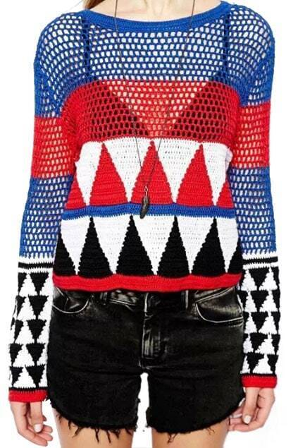 ROMWE Multi-colored Hollow-out Jumper