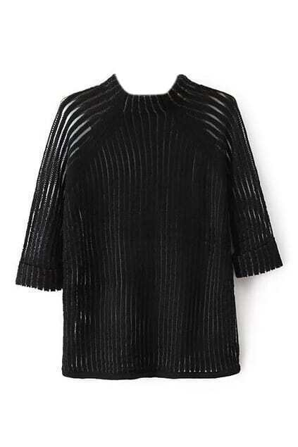 Hollow Cropped Sleeves Knitted Jumer