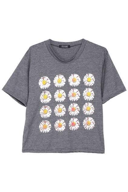 ROMWE Daisy Print Grey T-shirt