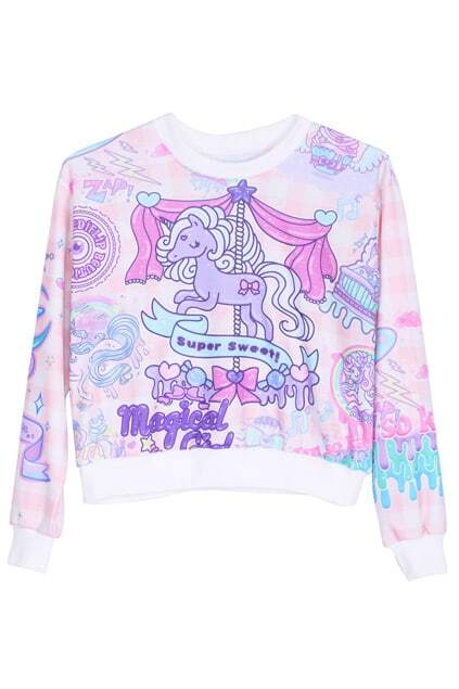 ROMWE Purple Horse Print Long-sleeved Sweatshirt