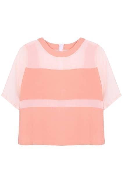 ROMWE Dual-tone Short-sleeved Pink T-shirt