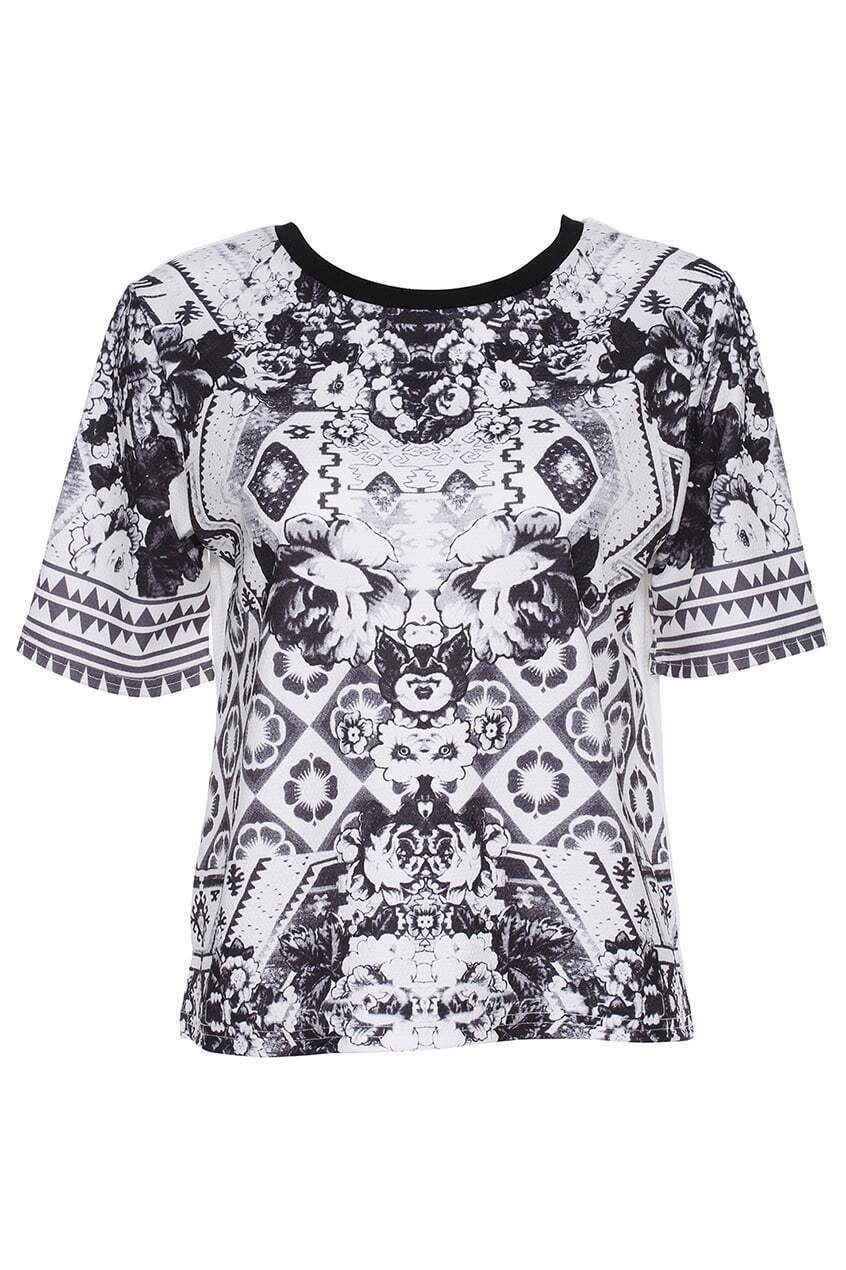 ROMWE ROMWE Geometry Print Short-sleeved Black T-shirt