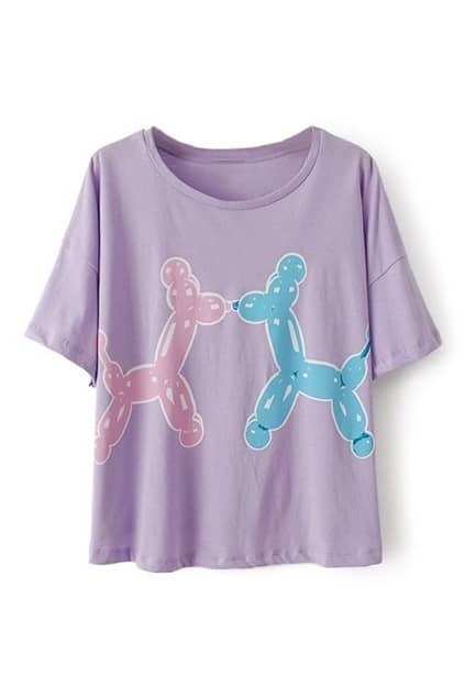 ROMWE Double Balloon Puppies Print Purple T-shirt