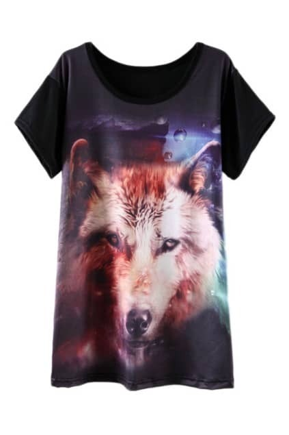 ROMWE Dog Print Black T-shirt