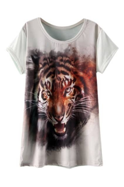 ROMWE Tiger Head Print White T-shirt