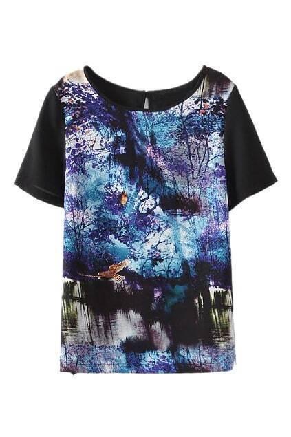 ROMWE Dual-tone Forest Print T-shirt