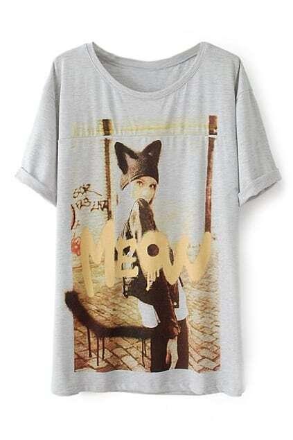 ROMWE Beauty Print Grey T-shirt