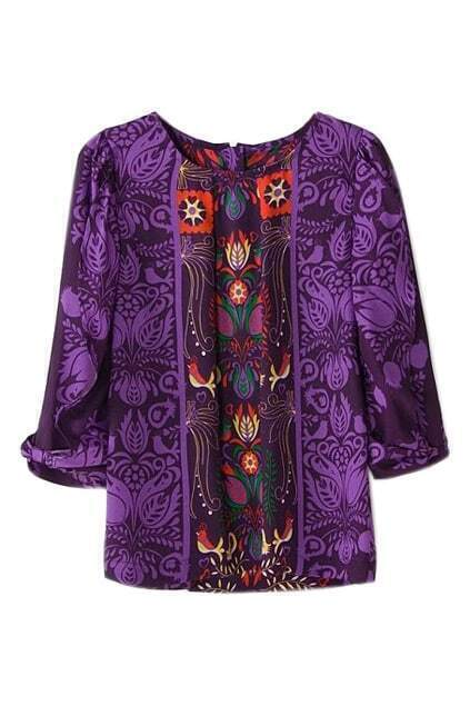 ROMWE National Style Print Cropped Sleeves Purple T-shirt