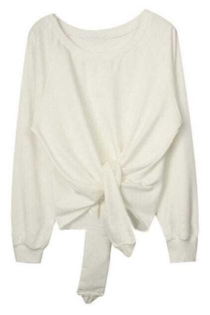 ROMWE Asymmetric Self-tied Belt Loose White Sweatshirt