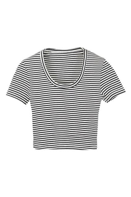 ROMWE Striped Midriff Slim Sexy T-shirt