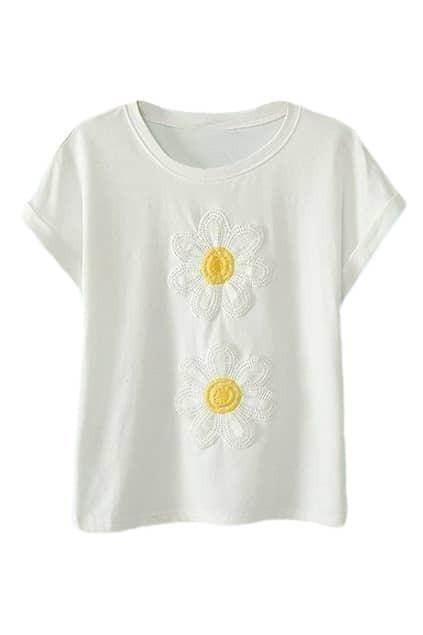 ROMWE Sunflowers Embroidery Round Neck White T-shirt