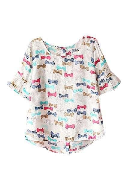 ROWME Colorful Bowknots Print Flouncing Cuffs Asymmetric T-shirt