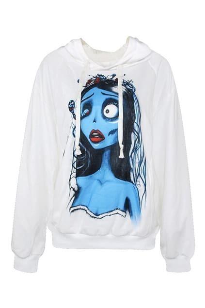 Scared Girl Print Hoodied Sweatshirt