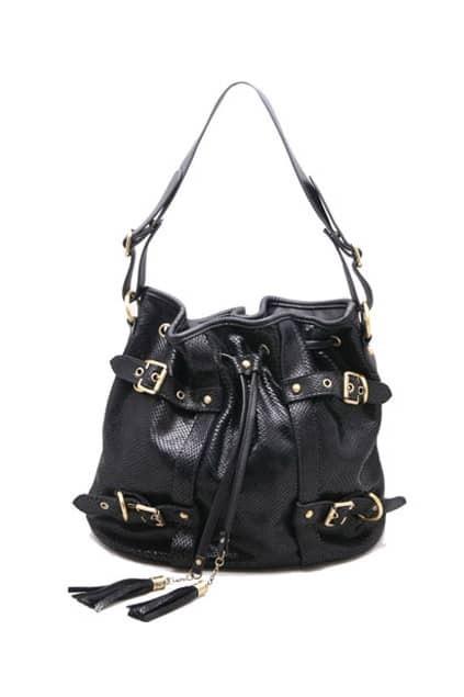 Casket Design Fitted Drawstring Black Shoulder-bag