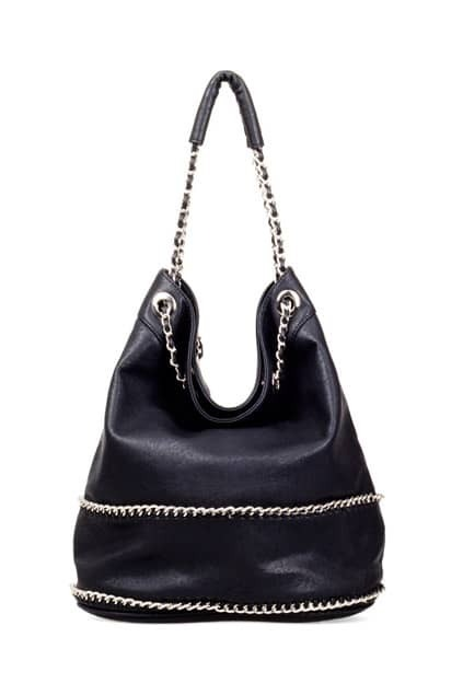 Bucket-Shape Chain Shoulder Black Bag