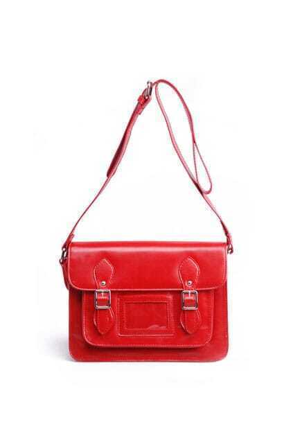 Red Buckles Satchel Bag