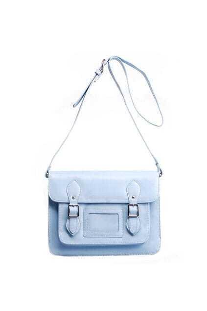 Light Blue Buckles Satchel Bag