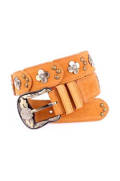 Flower Printed Fitted Rivets Yellow Belt