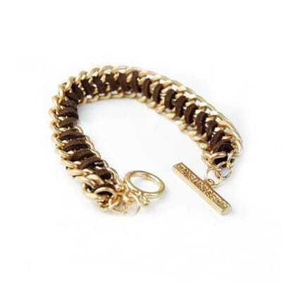 Golden Chain Brown Rope Chic Bracelet