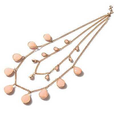 Water-drop Design Double Layers Pink Necklace