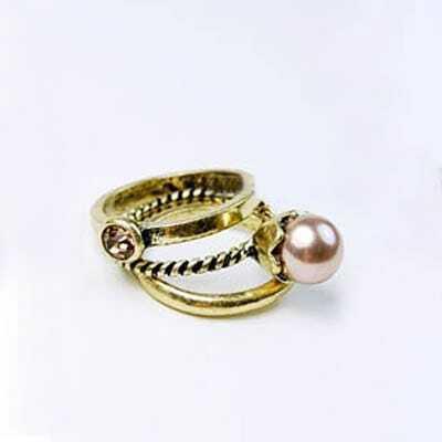 Light Pink Pearl Dianmond Three-piece Ring