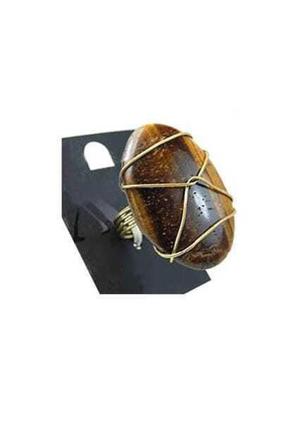 Brown Nature Texture Oval Ring