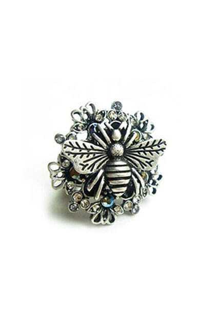 Bee Shrub Jewel Round Silvery Ring