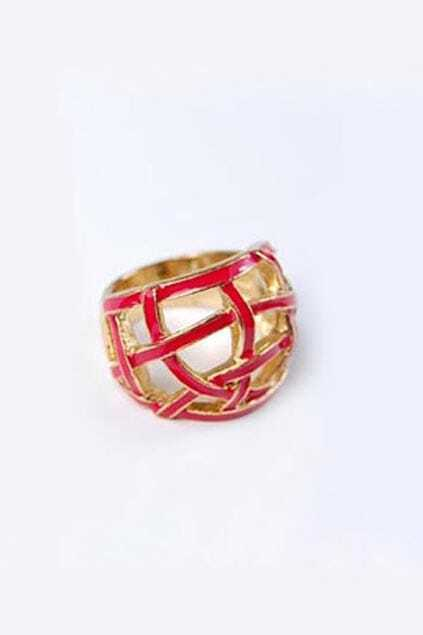 Casual Hollow Red  Nets Ring