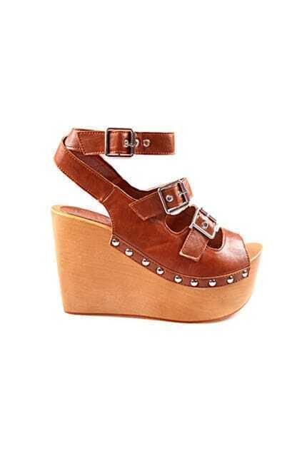 Woody Heels Platform Brown High Sandals