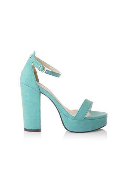 Antique Chunky Heels Blue Platform Sandals