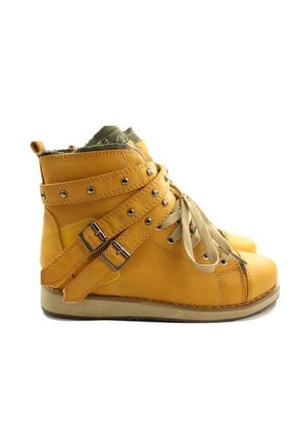 Self Tie Drawstring Yellow Short Boots