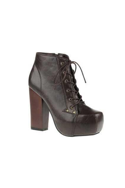 Platform Zipper Brown Ankle Boot