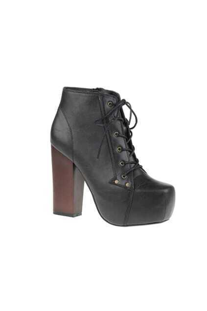 Platform Zipper Black Ankle Boot