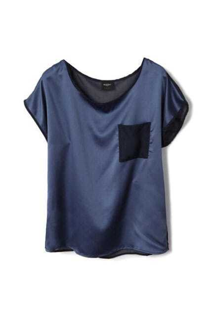 Montage Fitted Pocket Front Blue Shirt