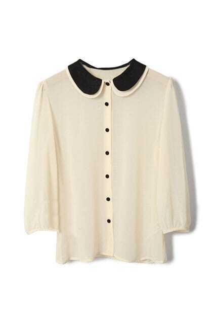 Retro Puff Sleeve Chiffon Apricot Shirt