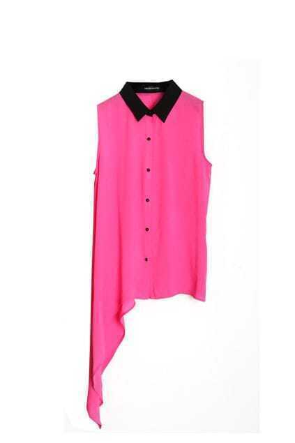 Anomalous Hem Light Pink Sleeveless Shirt