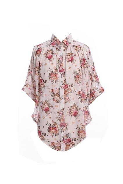 Floral Print Batwing Sleeves Shirt