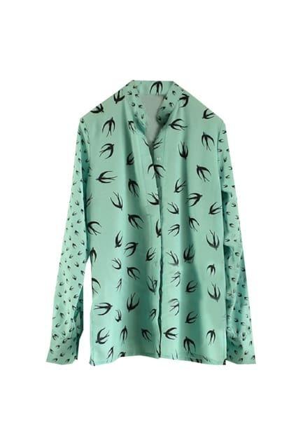 Vintage Swallow Print Green Shirt